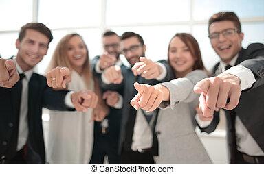 afsluiten, boven., succesvolle , handel team, richtend bij, you.