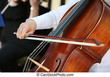 afsluiten, cello, op, hand, spelend