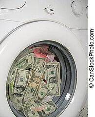 afsluiten, geld, op, het wassen