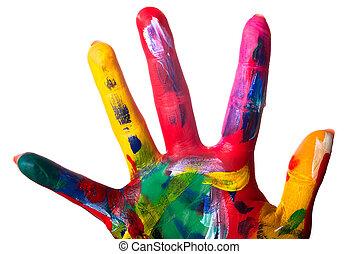 afsluiten, kleurrijke, hand