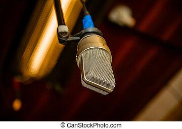 afsluiten, microfoon, op, achtergrond, lamp