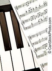 afsluiten, partituur, muziek, op