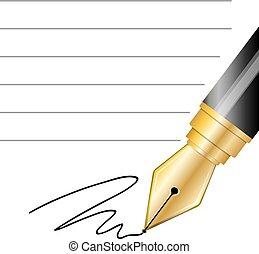 afsluiten, pen, fontijn, op, handtekening