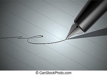 afsluiten, pen, vector, op, signature.