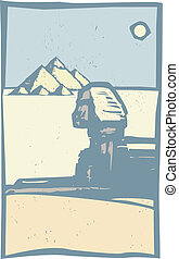 afsluiten, sphinx, egyptisch