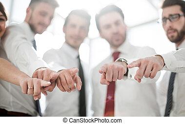 afsluiten, up.modern, handel team, richtend aan, you.