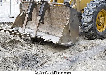 afsluiten, zand, bouwsector, op, voertuig
