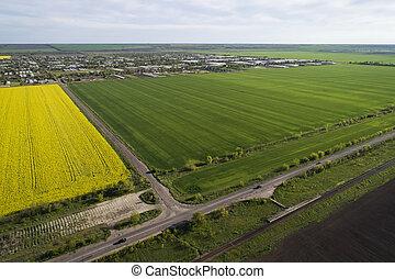 afstand, luchtopnames, ?ars, velden, geel groen, dorp, gaan, overzicht., aanranding, road.