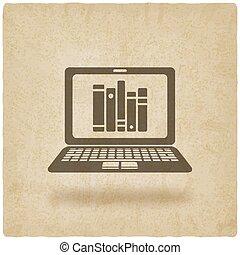 afstand, online bibliotheek, studeren, of, boekhandel, concept, oud, achtergrond