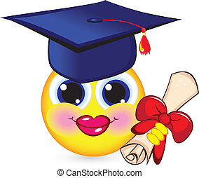 afstuderen, vrolijk, smiley