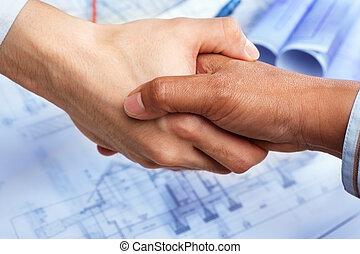 aftalen, på, konstruktion