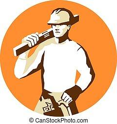 aftekenmal, niveau, aannemer, arbeider, toolbelt,...