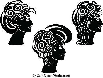 aftekenmal, set, hairstyles.