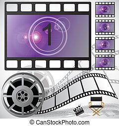 aftellen, film, vector, haspel
