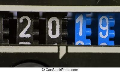 aftellen, numbers., digitale , 2019, color., 2020, jaar, blauwe , timer., toonbank, nieuw, cijfers, set