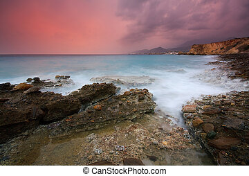 aftenen, storm, ind, crete, greece.