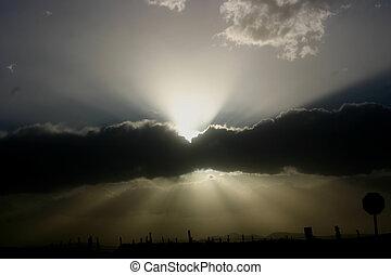 aftenen, stråler