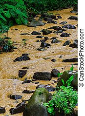 After a heavy rain storm, muddy brown water runoff fills a...