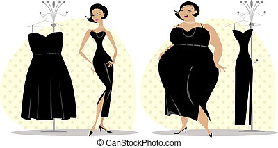 After and before diet - Lady fitting dress after and before...