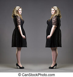 After before loss weight concept, plus size and slim models...