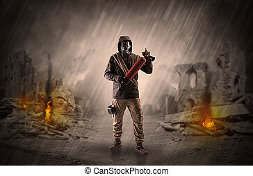 After catastrophe men coming in gas mask and arms