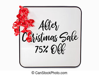 after Christmas sale sign on whiteboard