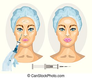 after., donna, concept., cosmetico, faccia, botox, injection...