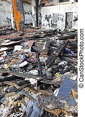After Fire Debris - Burned Sweatshop Garment Factory After...