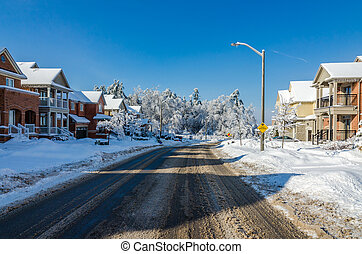 After freezing rain - Trees and streets of Canadian town ...