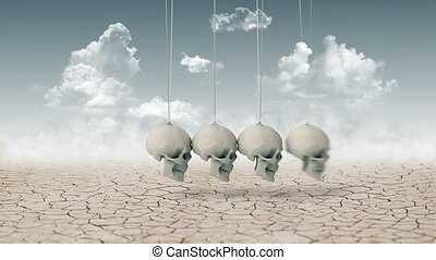 After Human - Newton's Cradle made of skulls instead balls....