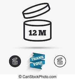 After opening use 12 months sign icon. Expiration date. Flat icons. Buttons with icons. Thank you ribbon. Vector