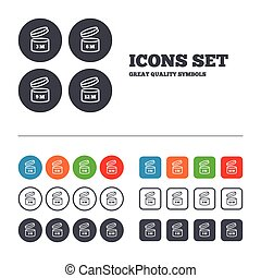 After opening use icons. Expiration date 6-12 months of product signs symbols. Shelf life of grocery item. Web buttons set. Circles and squares templates. Vector