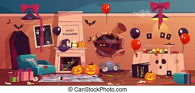 After party mess in Halloween decorated room,