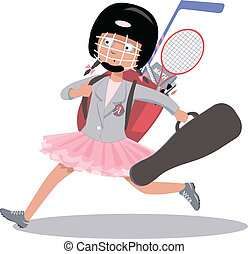 After-school program - Overachieving girl hurrying to her...