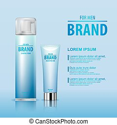 After shave cream and shaving foam set for man with brand...