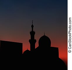 After sunset mosque. landscape with beautiful mosques and minare