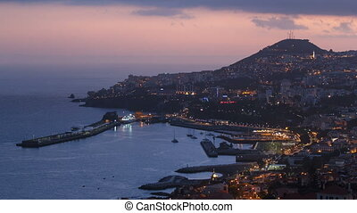 After sunset panoramic view to Funchal, Madeira, Portugal...