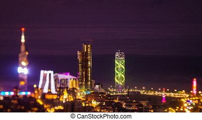 After sunset timelapse Batumi cityscape pan down
