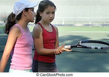 After the game - 2 girls after tennis game
