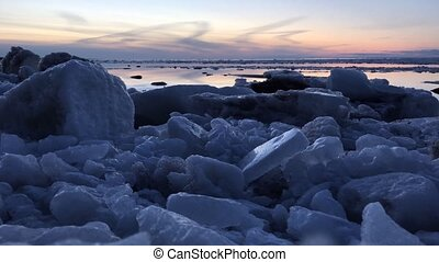 After the sunset of the ice floe timelapse video