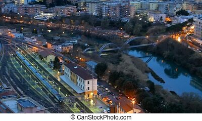 Afterdark view of Tivoli. Italy. UltraHD (4K)