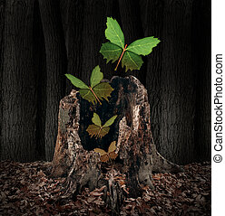 Afterlife and rebirth concept as a group of leaves shaped as...