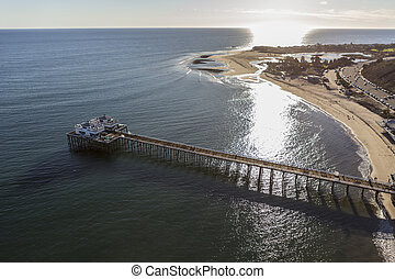 Afternoon aerial of Malibu Pier and Lagoon