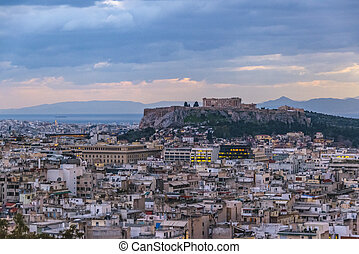 Afternoon Athens Aerial View Cityscape