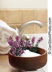 Afternoon Bath - Pretty heather flowers in a bowl of Epsom...