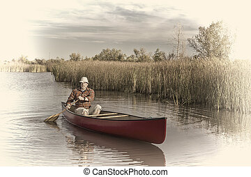 afternoon canoe paddling on  a lake