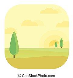 Afternoon Landscape Modern Conceptual Design Illustration Vector
