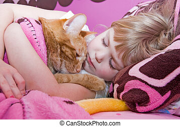 Afternoon Nap - Little girl and tabby cat napping.