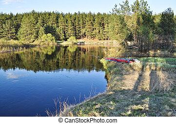 afternoon., printemps, rivière, ensoleillé, paysage