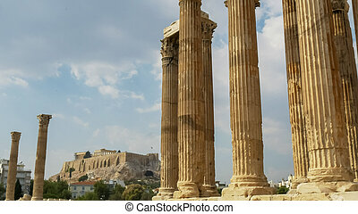 afternoon shot of the acropolis at the temple of zeus athens